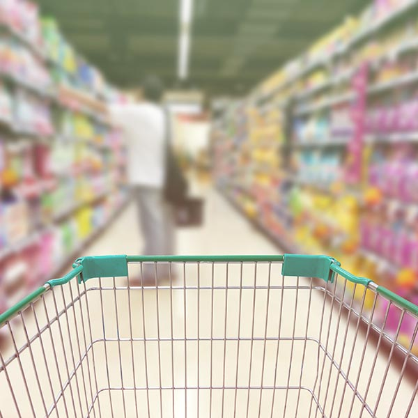 Supermarket blurred background customer with pet food Product shelf